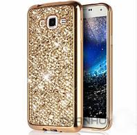 Чехол/Бампер блеск с кристаллами для Samsung J7 2015 (J700) Золотой (Силиконовый)