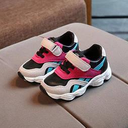 Серые с розовым детские кроссовки на липучке