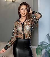 4be80aba6e4 Блузка Прозрачная в цветах разноцветная с вышивкой
