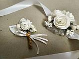 Свадебная бутоньерка и браслет Rose. Цвет белый., фото 2