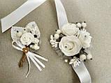 Свадебная бутоньерка и браслет Rose. Цвет белый., фото 3