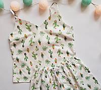 Пижама хлопковая кактусы на белом фоне (майка + шорты)