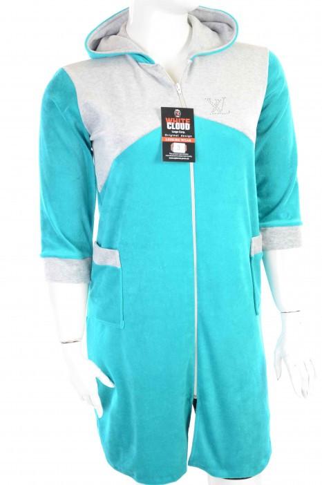 Халат жіночий велюровий з капюшоном і кишенями зелений