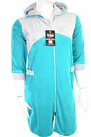 Халат жіночий велюровий з капюшоном і кишенями зелений, фото 1