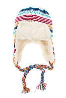 Шапка детская в полоску  65P15-008 junior (Разноцвет молочный)