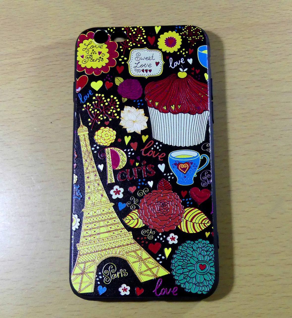 Чехол ПАРИЖ тисненый силиконовый 6/6S iPhone