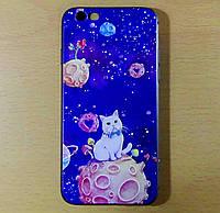 Чехол КОТ НА ЛУНЕ тисненый силиконовый 7 iPhone, фото 1