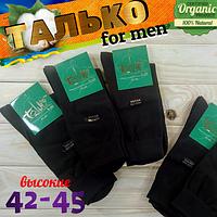 Высокие носки мужские демисезонные носок без шва тонкие Талько Украина 42-45р  чёрные НМД-051090