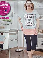 "Костюм домашний ""Fuschya"" Big size футболка+бриджи"