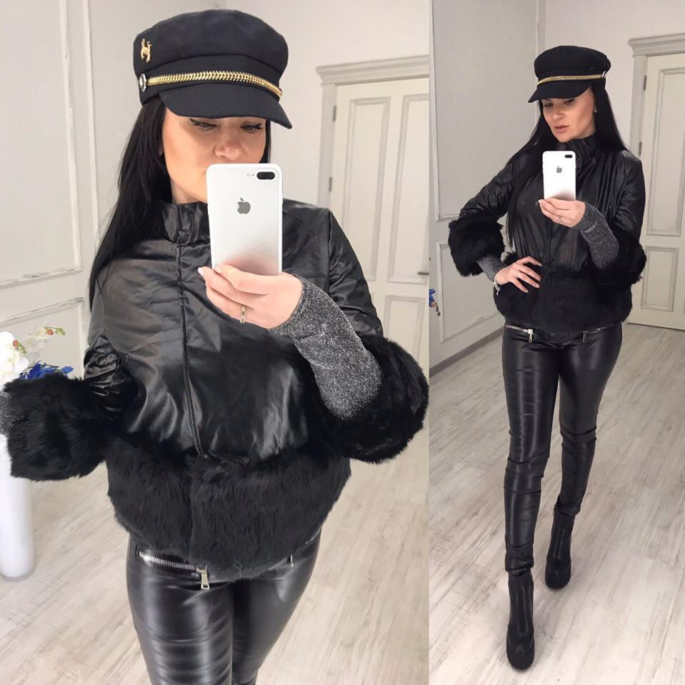 Женская демисезонная куртка с вставками меха 58kr185