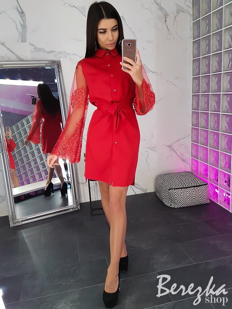 Платье-рубашка с широкими рукавами из сетки и кружевом 66py2379