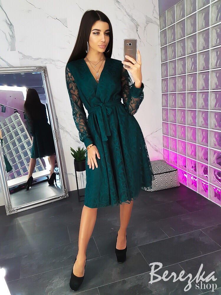 Платье с пышной юбкой из сетки с кружевом 66py2383