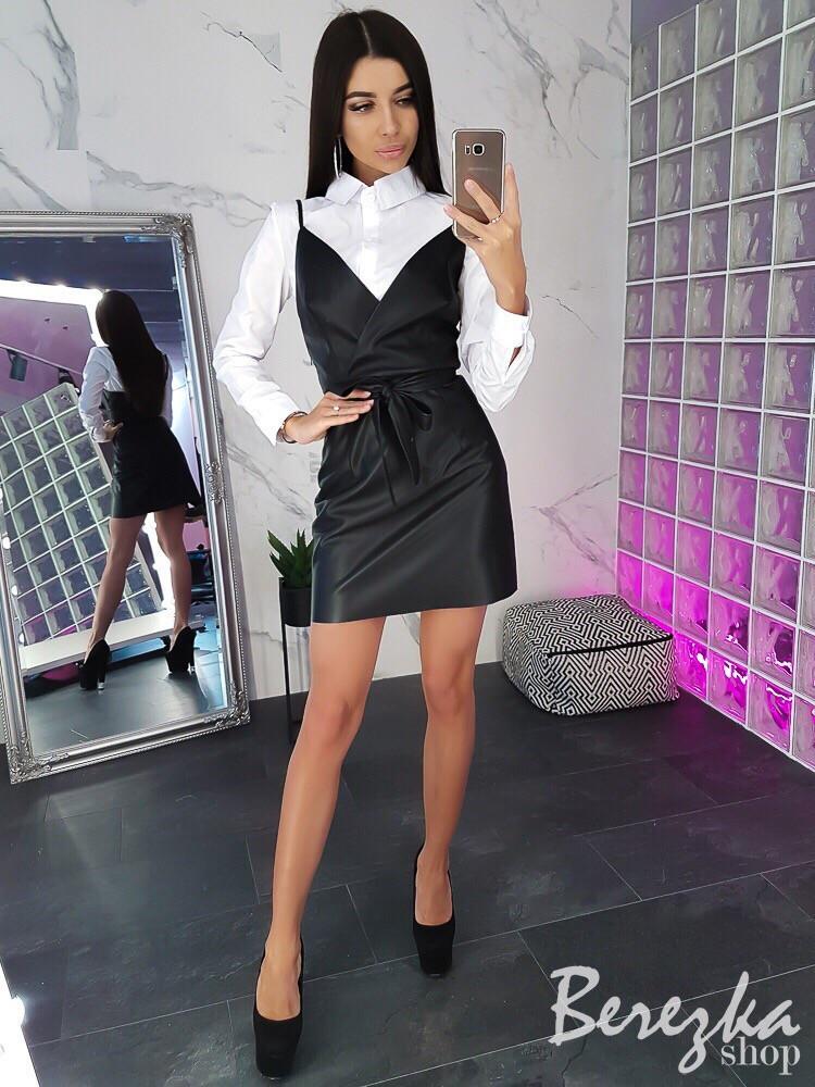Женский кожаный сарафан с рубашкой в клетку 66ks960