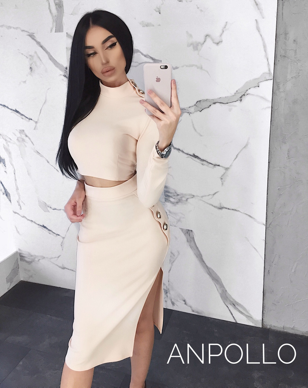 Женский юбочный костюм с топом и декором 17ks965