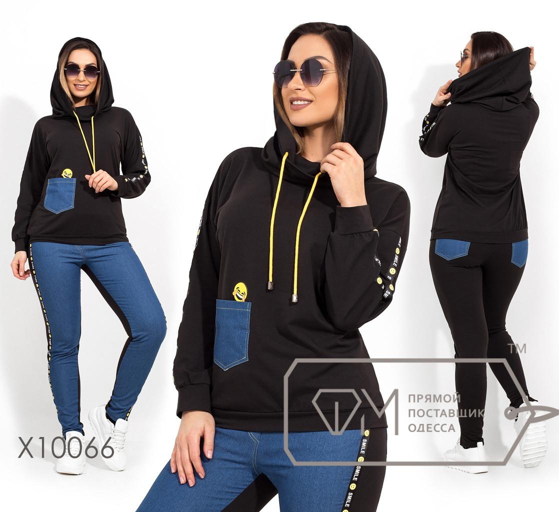 Женский спорт костюм в больших размерах с вставками джинс 1ba1361