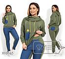 Женский спорт костюм в больших размерах с вставками джинс 1ba1361, фото 2