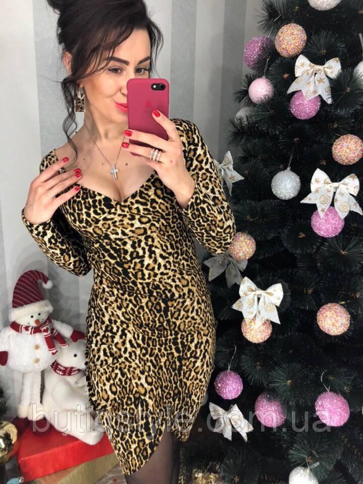 Трикотажне жіноче плаття з леопардовим принтом