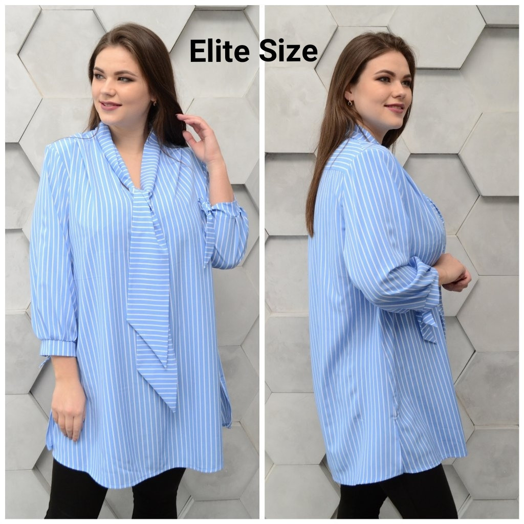 Женская удлиненная рубашка в принт в больших размерах 6ba1397