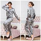 Велюровая женская пижама со штанами и рубашкой 64dd68, фото 2