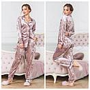 Велюровая женская пижама со штанами и рубашкой 64dd68, фото 3
