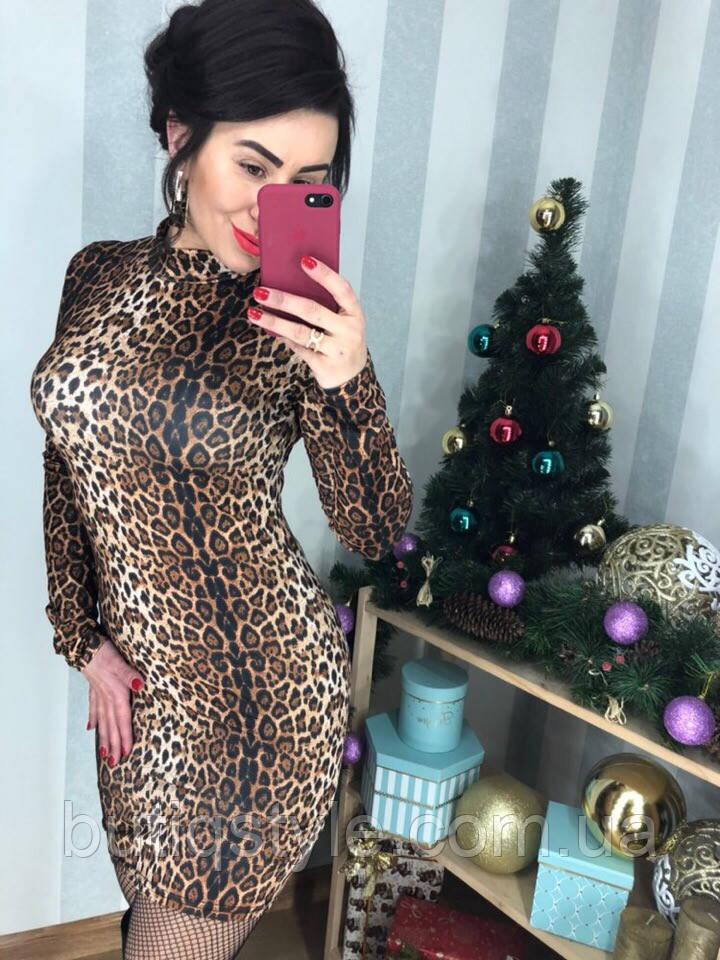 Красивое женское леопардовое платье