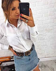 Хлопковая женская рубашка с карманами на груди 3rz208