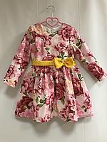 """Повседневно - нарядное платье на девочку """"розочка цветочек"""" с рукавами"""