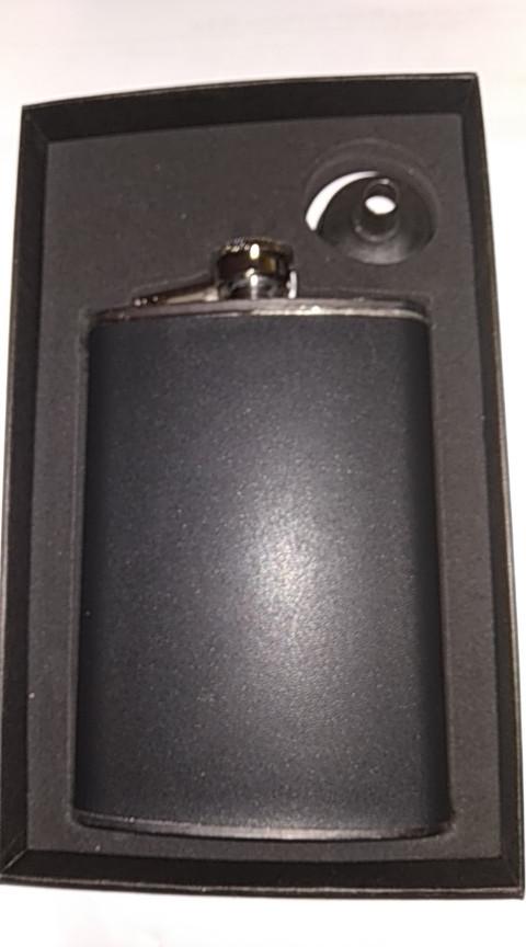 Набор подарочный фляга в коже с лейкой (фляга 225 мл.,лейка) черная