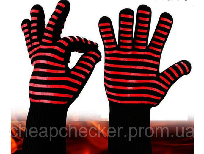 Термостойкие Защитные Силиконовые Нескользящие Перчатки для Барбекю Гриля BBQ Gloves