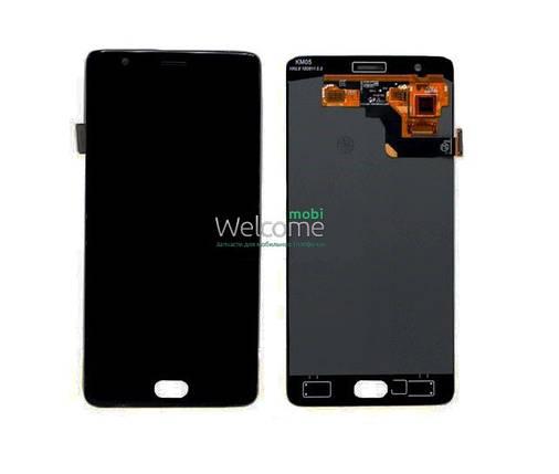 Модуль OnePlus 3/3T с рамкой black дисплей экран, сенсор тач скрин, фото 2