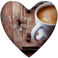 Подушка-серце, 2 розміри+3D - Наша ранкова кава, фото 1