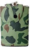 Фляга в чехле на кнопке сувенирная Hip Flask, 240 мл. каммуфляж, фото 3