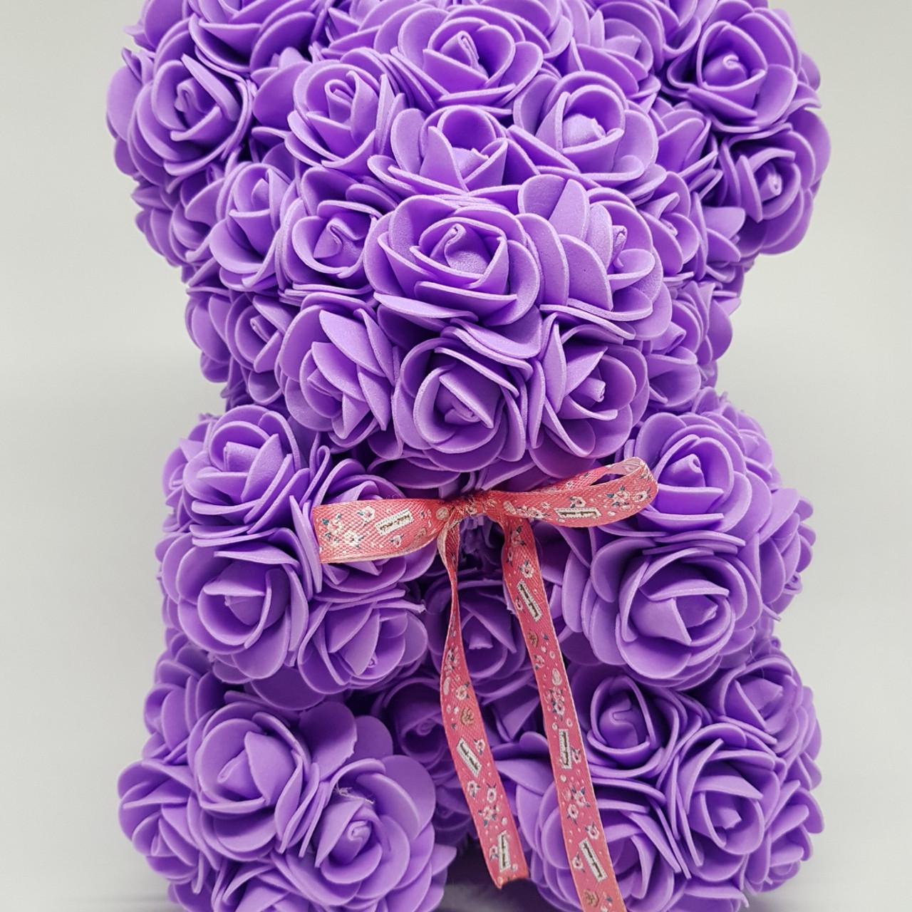 Подарочный Мишка из роз, Лиловый  25 см