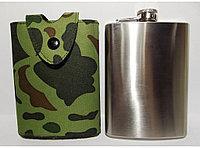 Фляга в чехле на кнопке сувенирная Hip Flask, 240 мл. каммуфляж