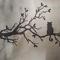 Эко-сумка  с замочком фиолет цветочки майский кот на ветке (спанбонд)32*29*8