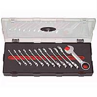 Набор ключей рожково-накидных с трещоткой, укороченных 12 предметов, 8-19 мм Force K51216