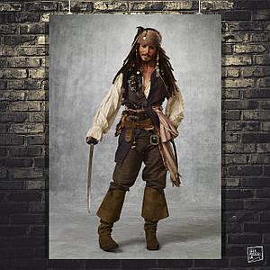 Постер Капитан Джек Воробей, Пираты Карибского Моря, Pirates of the Carribean. Размер 60x43см (A2). Глянцевая бумага