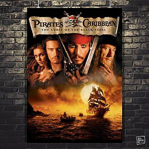 Постер Пираты Карибского Моря: Проклятье Чёрной Жемчужины, Pirates of the Carribean. Размер 60x42см (A2). Глянцевая бумага