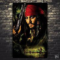 Постер Капитан Джек Воробей, Пираты Карибского Моря, Pirates of the Carribean. Размер 60x38см (A2). Глянцевая бумага