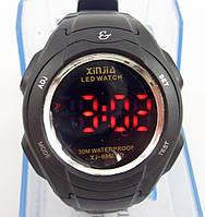 Часы мужские наручные XinJia XJ 686 LED черные с красными вставками в коробке