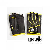 Перчатки рыболовные Norfin Pro Angler 5 Cut Gloves черно желтого цвета