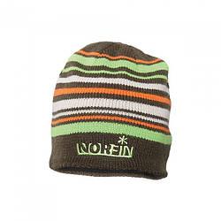 Шапка вязана зимова Norfin коричневого кольору в смужку