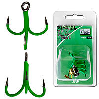 Крючок-тройник DAM MADCAT® A-STATIC TREBLE Hook 6Х №4/0  4шт. (green)