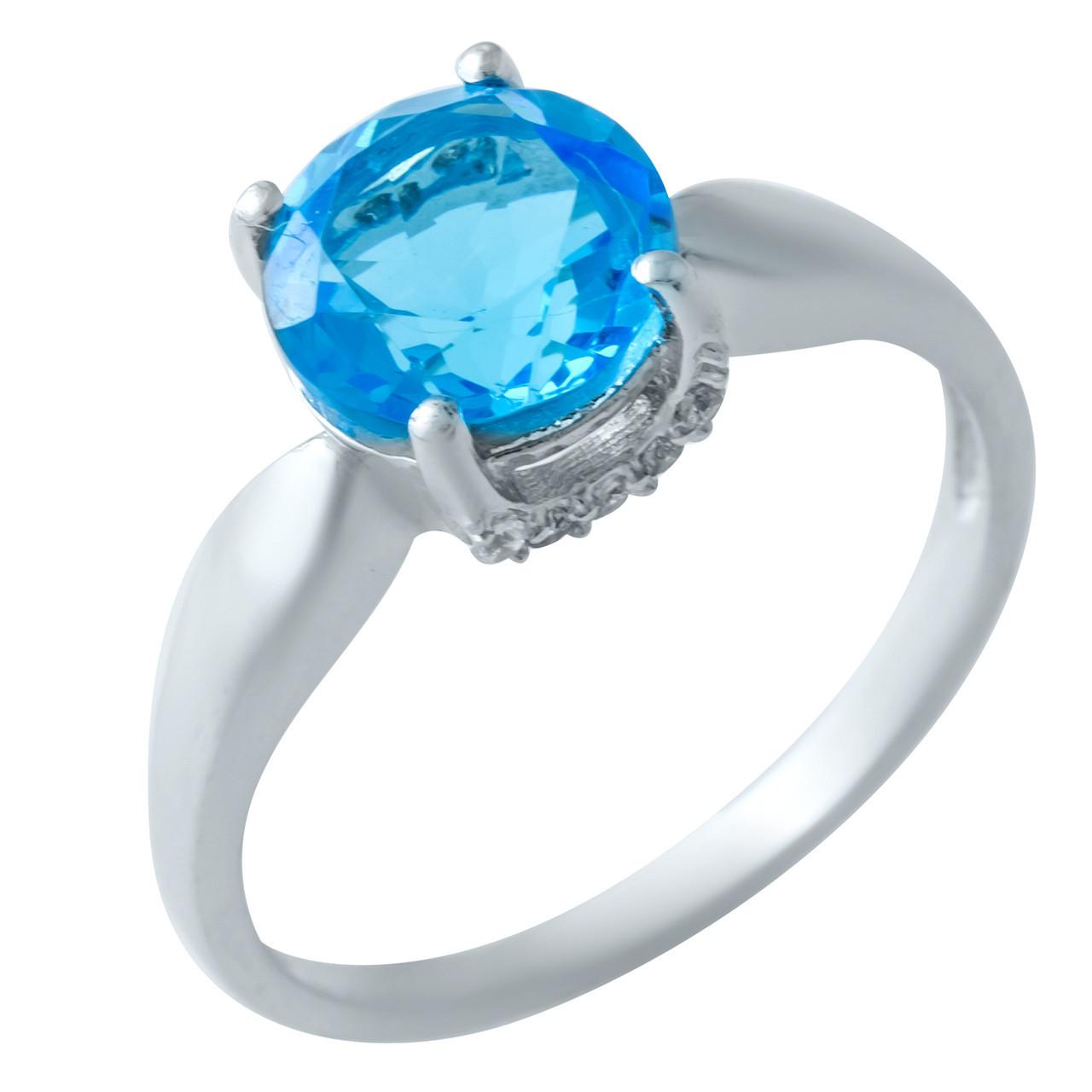 Родированное серебряное кольцо 925 пробы с аквамарином nano