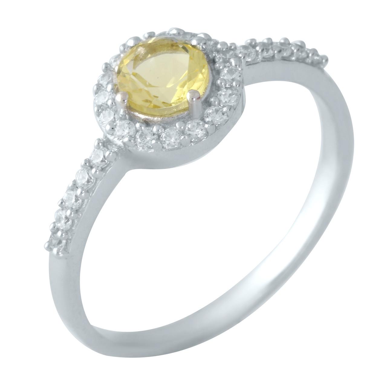 Родированное серебряное кольцо 875 пробы с цитрином nano