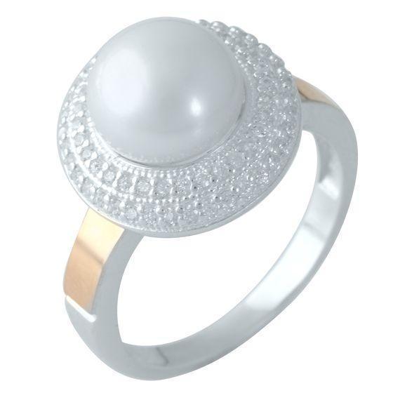 серебряное кольцо 925 пробы с натуральным фианитами, жемчугом