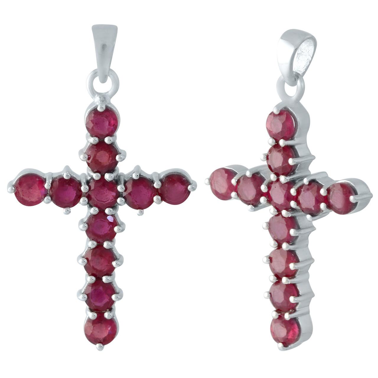 Родированный серебряный крестик 925 пробы с рубином