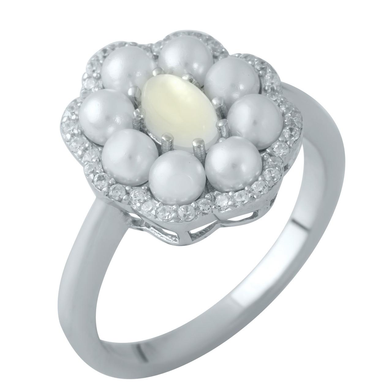 Родированное серебряное кольцо 925 пробы с натуральным перламутром,