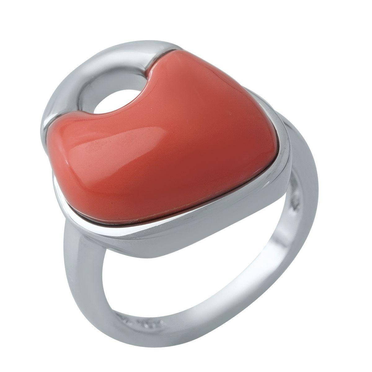 Родированное серебряное кольцо 925 пробы с кораллом