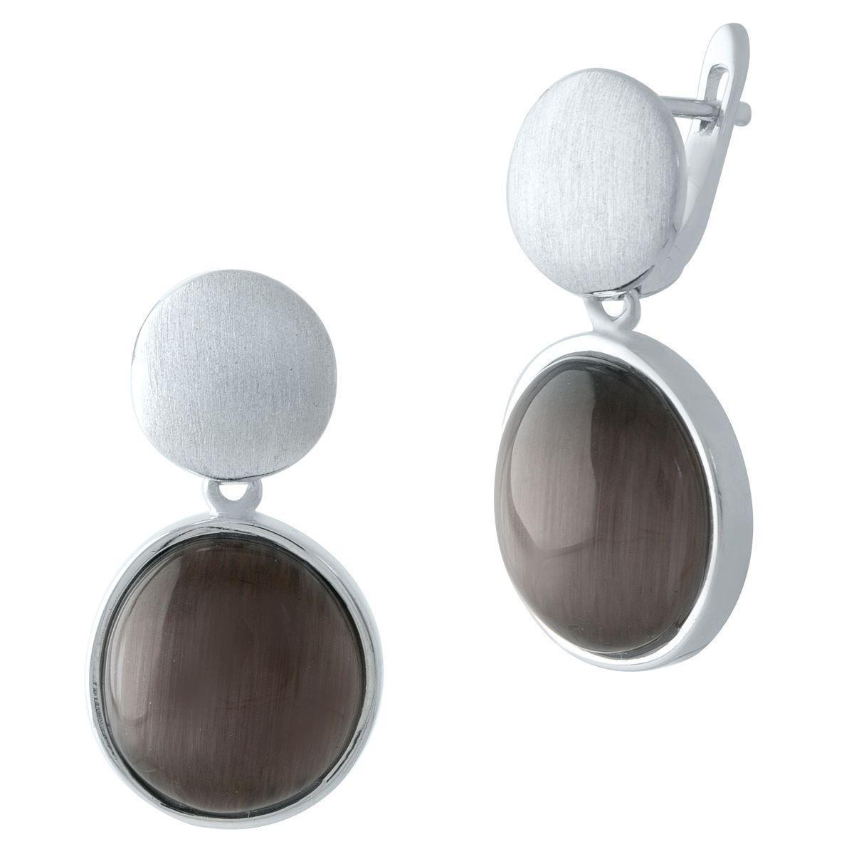 Родированые серебряные серьги 925 пробы с кошачим глазом